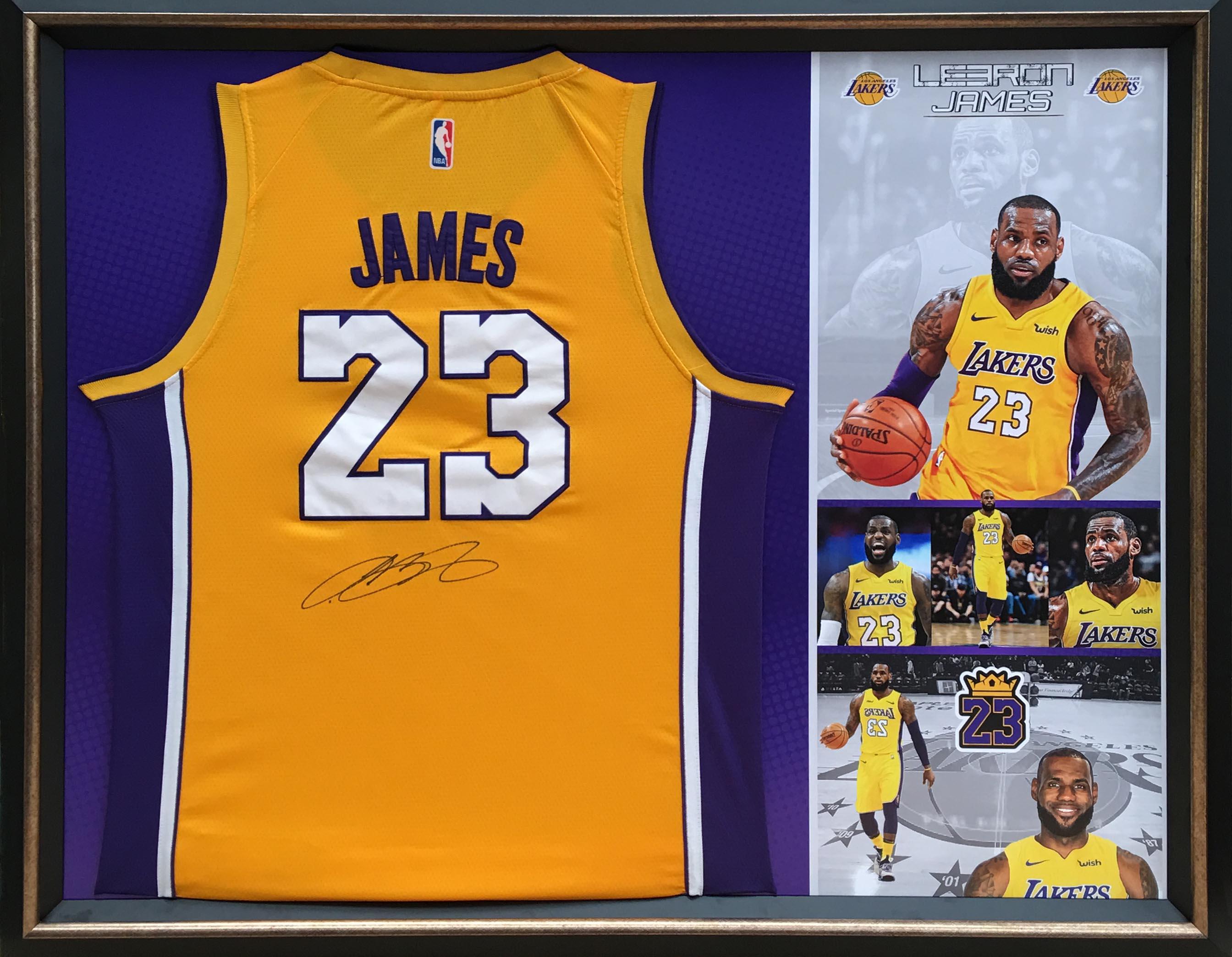 best cheap d4a83 091b2 LeBron James #23 Lakers Home Jersey Framed :: Australian ...