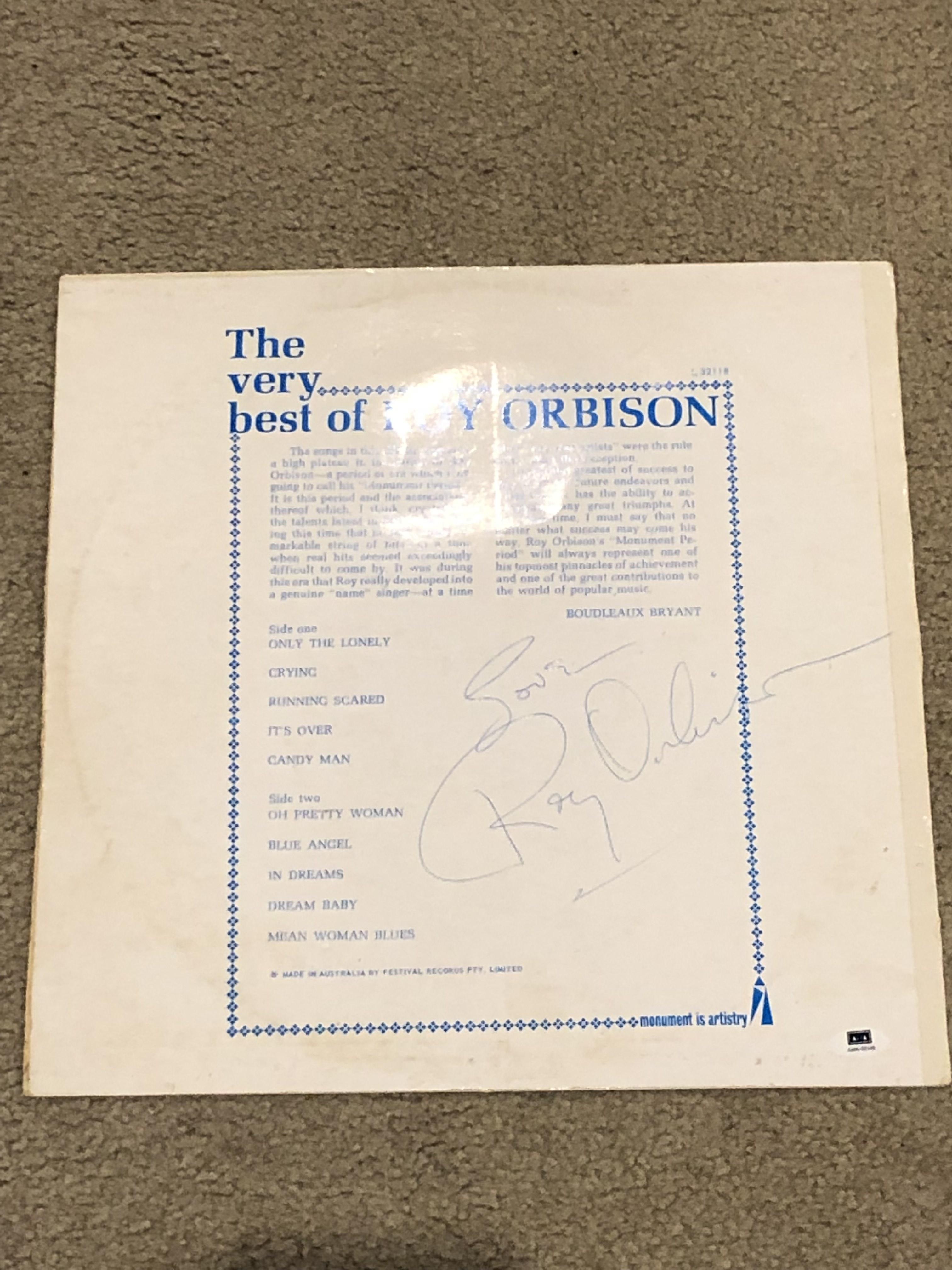 Roy Orbison signed album cover